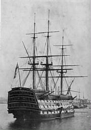 HMS Victory  in Portsmouth harbour. 1884